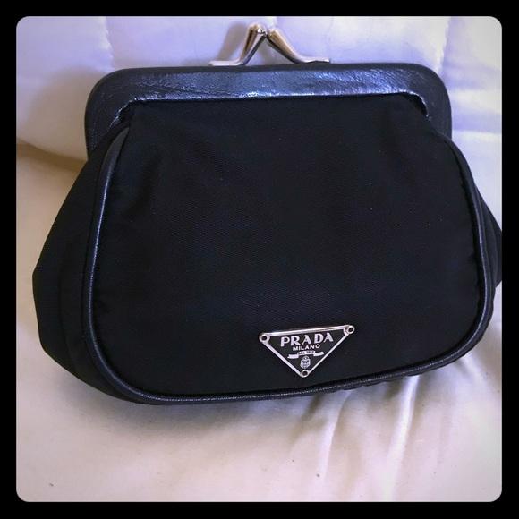 587cfe0c50 Prada Bags | Nylon And Leather Kiss Lock Coin Purse | Poshmark